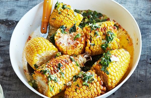 Corn with herb butter and chipotle salt