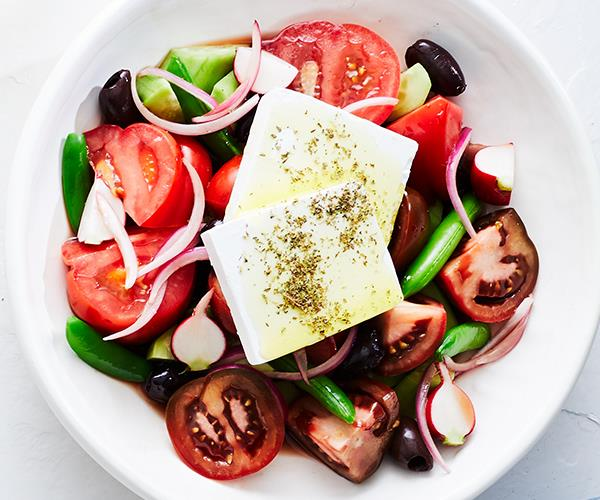 "**[Greek salad](https://www.gourmettraveller.com.au/recipes/chefs-recipes/greek-salad-16970|target=""_blank"")**"
