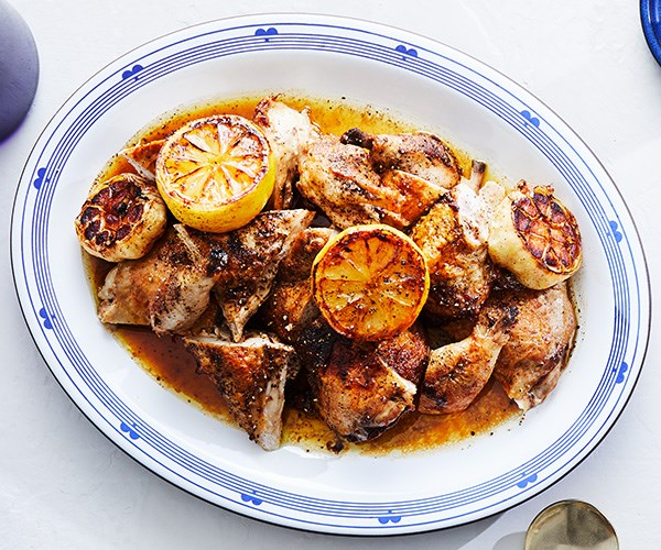 Greek-style barbecued spatchcock with lemon and pepper
