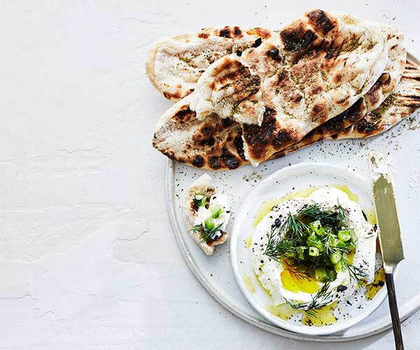 "**[Tzatziki with fresh pita](https://www.gourmettraveller.com.au/recipes/chefs-recipes/tzatziki-recipe-16974|target=""_blank"")**"