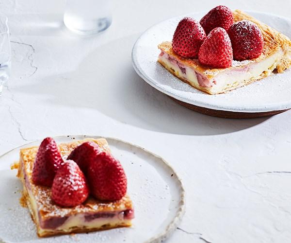 "[Strawberry galaktoboureko](https://www.gourmettraveller.com.au/recipes/chefs-recipes/strawberry-galaktoboureko-16976|target=""_blank"")"