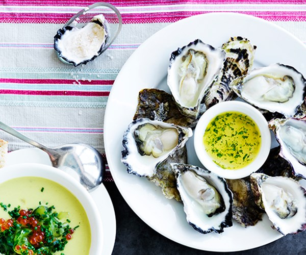 "[**Freshly shucked oysters with tarragon dressing**](https://www.gourmettraveller.com.au/recipes/chefs-recipes/oysters-tarragon-dressing-16979|target=""_blank"")   ""The success of this lies entirely on shucking the oysters immediately before serving,"" says Moran. ""For a puritan all that's needed then is a wedge of lemon, maybe, or another high note like tarragon or shallot vinegar. Allow four to six oysters per person, I prefer Sydney rocks to the larger Pacific oysters, and anything from Tasmania will surely rock your boat for pristine flavour."""