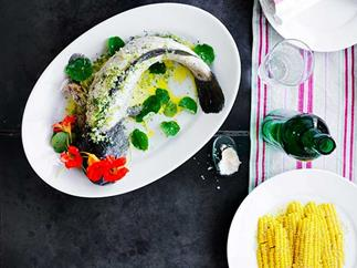 Poached Murray cod with dill