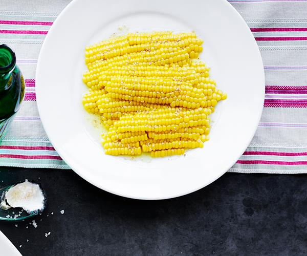 "[**Corn shards with sesame salt**](https://www.gourmettraveller.com.au/recipes/chefs-recipes/corn-sesame-salt-16982|target=""_blank"")   ""I'm hooked on the Japanese sesame salt, gomasio,"" says Moran. ""I love using it to season anything from a pot of boiled brown rice to an avocado. With the sweetness of summer corn, it's another hit. Once toasted, ground and cooled, it can be stored in an airtight jar for several days, so don't be shy with the quantities."""