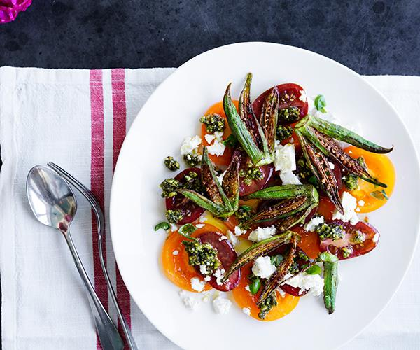 "**[Sean Moran's heirloom tomato salad with feta, pistachio pesto and fried okra](https://www.gourmettraveller.com.au/recipes/chefs-recipes/heirloom-tomato-salad-recipe-16978|target=""_blank"")**"