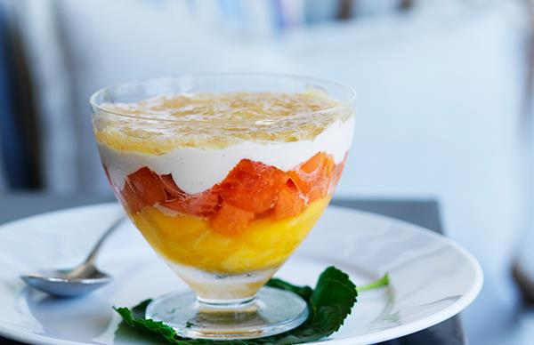 Tropical fruit up with coconut cream and finger lime jelly