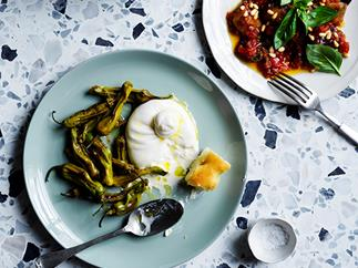 Burrata with peppers and marjoram