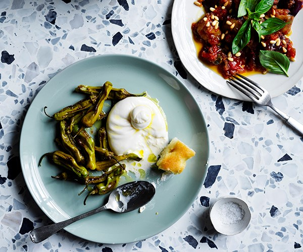 "**[Burrata with fried peppers and marjoram](https://www.gourmettraveller.com.au/recipes/chefs-recipes/burrata-fried-peppers-17026|target=""_blank"")**   ""This is a simple starter or salad that combines burrata with one of the biggest staples of the Italian-American menu,"" says Wall. ""Fried peppers know no limits in the scope of American food. Traditionally balsamic vinegar is used but I like the savouriness of sherry vinegar. You can easily substitute friggitello or shishito peppers with any other mild, small pepper."""