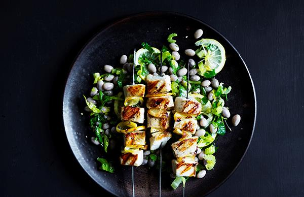 Kingfish skewers with borloui bean and celery heart salad