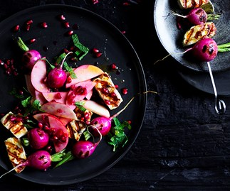 Haloumi and radish skewers