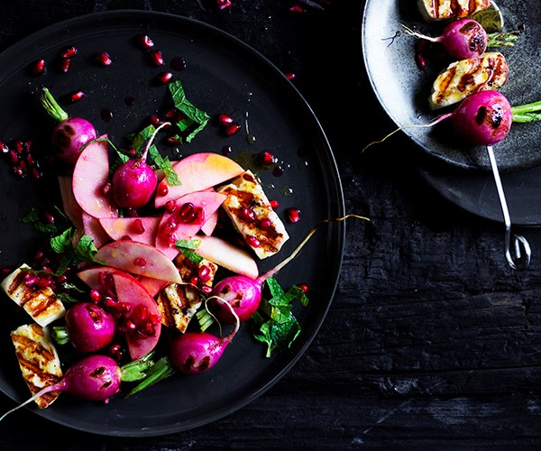 """[Haloumi and radish skewers with apple and pomegranate](https://www.gourmettraveller.com.au/recipes/fast-recipes/haloumi-radish-skewers-17032 target=""""_blank"""")"""