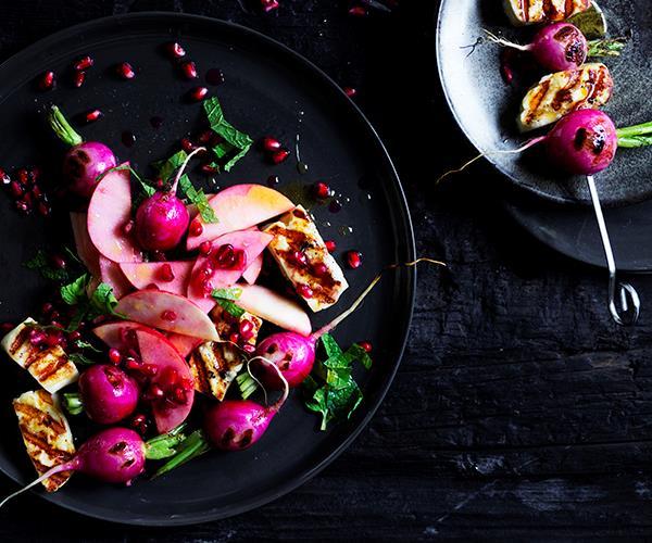 Haloumi and radish skewers