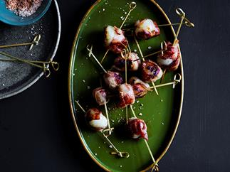 Bacon-wrapped lychees