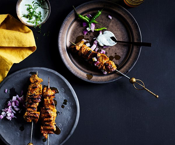 """**[Indian-spiced lamb skewers with mint yoghurt](https://www.gourmettraveller.com.au/recipes/fast-recipes/indian-spiced-lamb-skewers-17036