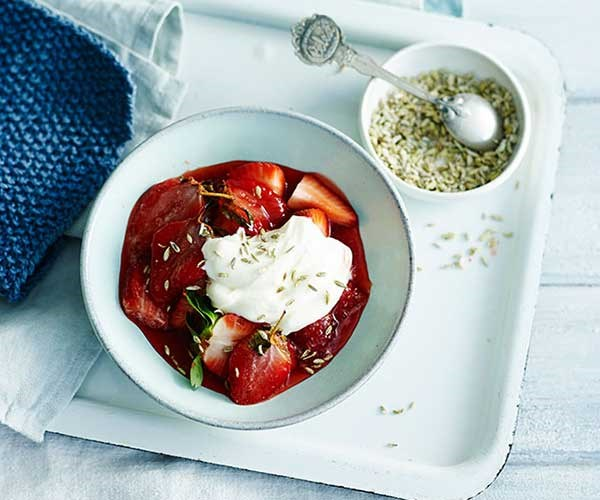 "[**Roast strawberries with creme fraîche and candied fennel seeds**](https://www.gourmettraveller.com.au/recipes/fast-recipes/roast-strawberries-with-creme-fraiche-and-candied-fennel-seeds-13648|target=""_blank"")"