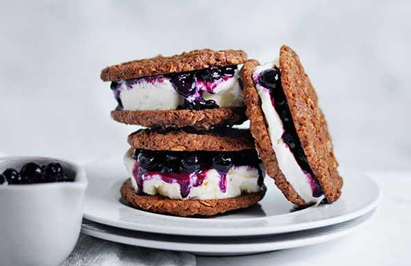 Blueberry and coconut ice-cream sandwiches