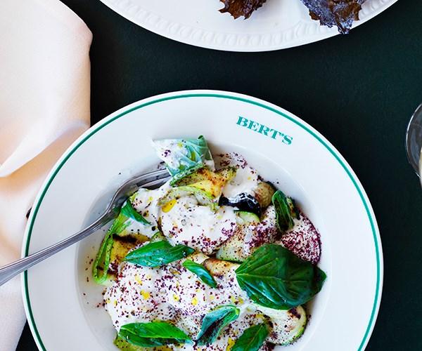 Zucchini, stracciatella and basil salad