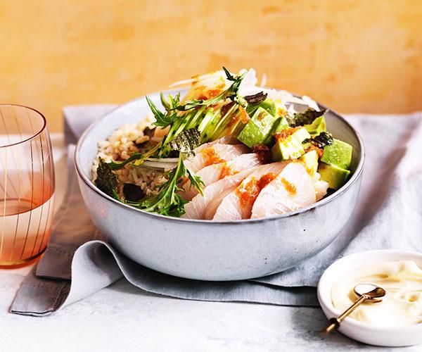 "**[Kingfish poke with pickled ginger ponzu](https://www.gourmettraveller.com.au/recipes/fast-recipes/kingfish-poke-with-pickled-ginger-ponzu-15557|target=""_blank"")**"
