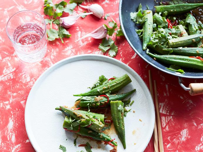 "**[Tony Tan's stir-fried okra with garlic and ginger](https://www.gourmettraveller.com.au/recipes/fast-recipes/stir-fried-okra-17089|target=""_blank"")**"