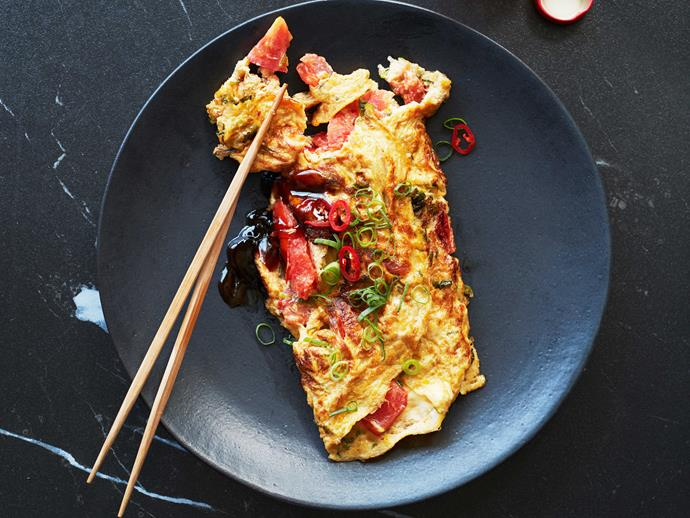 "**[Tomato and spring onion omelette](https://www.gourmettraveller.com.au/recipes/fast-recipes/tomato-spring-onion-omelette-recipe-17090|target=""_blank"")**"