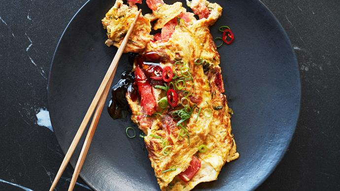 Tomato and spring onion omelette
