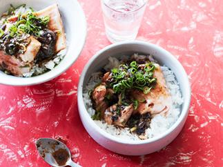 Salmon and blackbean sauce stir-fry