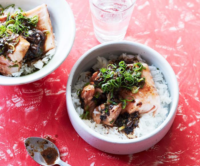 Salmon and blackbean sauce stir-fry