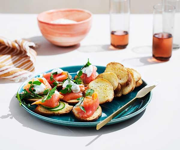 "**[Crostini with smoked trout, dill crème fraîche and cucumber](https://www.gourmettraveller.com.au/recipes/fast-recipes/crostini-smoked-trout-dill-creme-fraiche-16854|target=""_blank"")**"