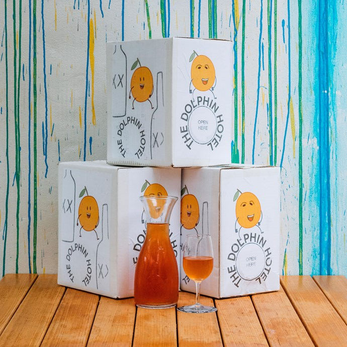 """2018 """"Owen's Big Orange"""" wine boxes at The Dolphin Hotel."""