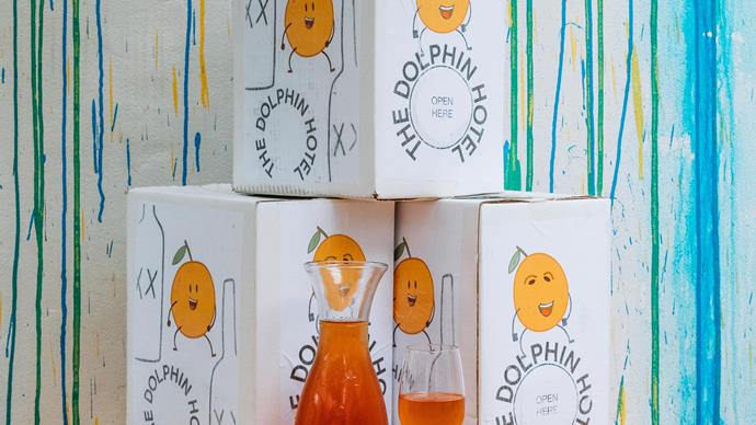 "2018 ""Owen's Big Orange"" wine boxes at The Dolphin Hotel."