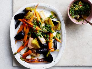 Roasted vegetables with preserved-lemon dressing