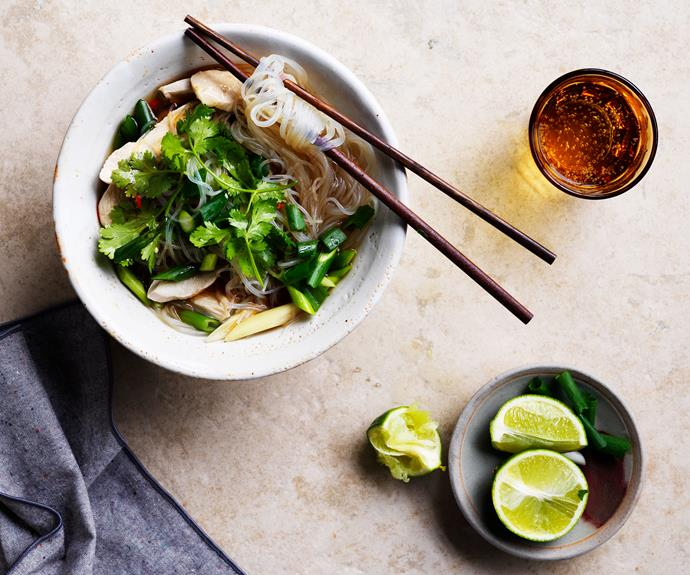 "**[Chicken, vermicelli and lemongrass soup](https://www.gourmettraveller.com.au/recipes/fast-recipes/chicken-lemongrass-noodle-soup-recipe-17147|target=""_blank"")**"