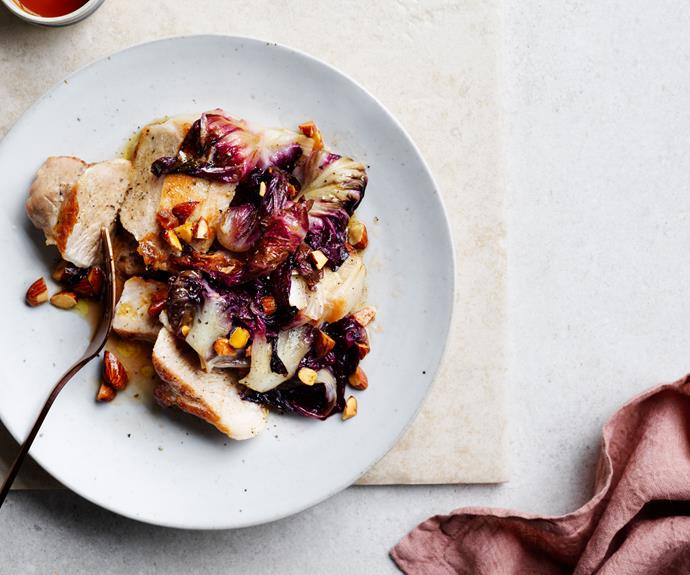 "**[Quick-roasted pork loin with radicchio, almonds and sherry vinegar](https://www.gourmettraveller.com.au/recipes/fast-recipes/roast-pork-loin-radicchio-recipe-17148|target=""_blank"")**"
