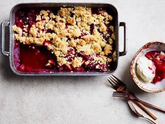 An easy plum, pear and ginger crumble