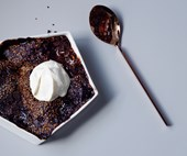 Chocolate self-saucing pudding with miso and sesame crunch