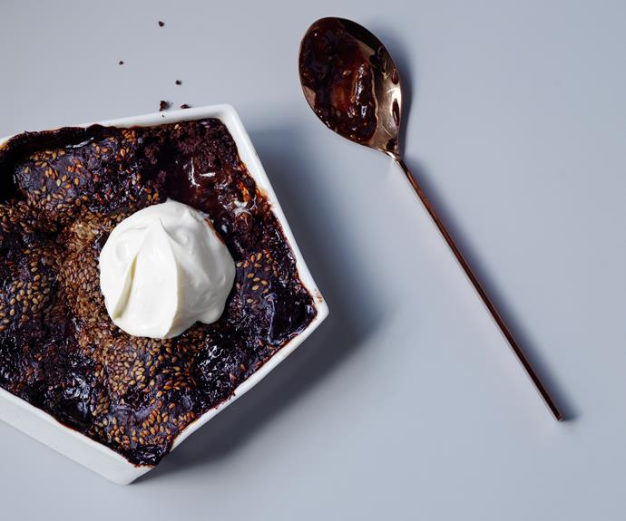 "**[Sweet Envy's chocolate self-saucing pudding with miso and sesame crunch](https://www.gourmettraveller.com.au/recipes/browse-all/self-saucing-chocolate-pudding-miso-sesame-17158|target=""_blank"")**"
