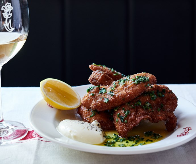 "**[Fried chicken with garlic butter by Leonardo's Pizza Palace](https://www.gourmettraveller.com.au/recipes/chefs-recipes/fried-chicken-garlic-butter-17169|target=""_blank"")**"