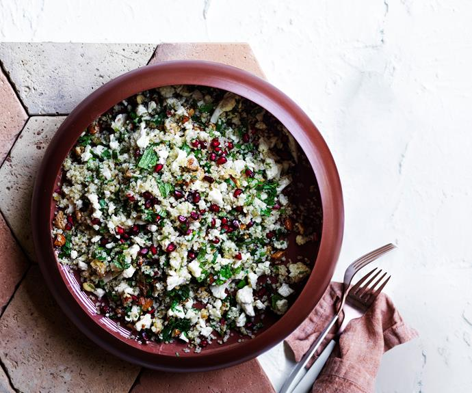 "**[Cauliflower, pomegranate and quinoa salad](https://www.gourmettraveller.com.au/recipes/browse-all/cauliflower-pomegranate-quinoa-salad-17178|target=""_blank"")**"