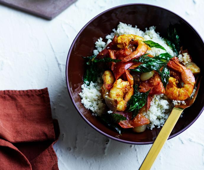 "**[Kerala-style prawn curry with cauliflower rice](https://www.gourmettraveller.com.au/recipes/browse-all/prawn-curry-cauliflower-rice-17181|target=""_blank"")**"