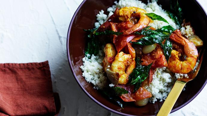 Kerala-style prawns  with cauliflower rice