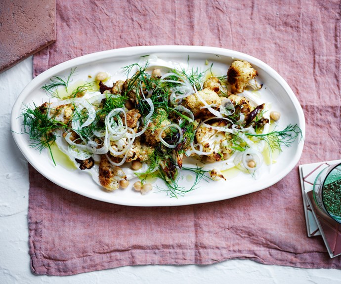 Roasted cauliflower salad  with chickpeas and dates