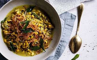 Black-eyed pea curry with crisp shallots and curry leaves