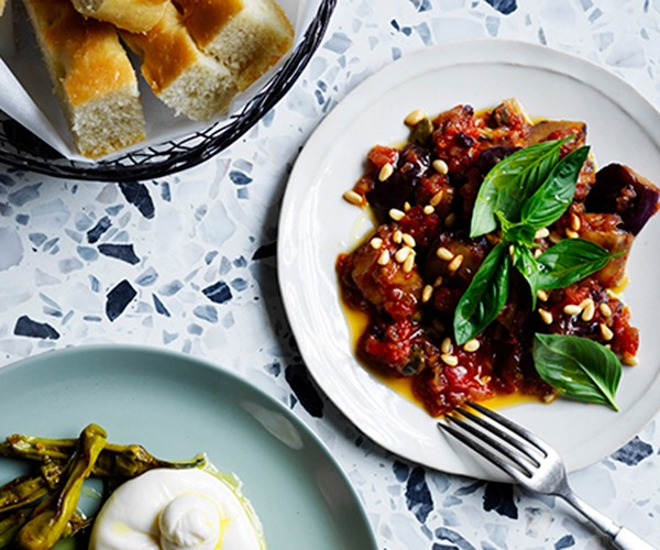"**[Caponata](https://www.gourmettraveller.com.au/recipes/chefs-recipes/basic-caponata-recipe-17027|target=""_blank"")**   ""Caponata is one of the more complex dishes in the Sicilian repertoire,"" says Wall. ""It's not only a melding of deep flavours, but it's also a nod to the rich cultural history of Sicily. There are many different types of caponata as you travel across the island, but they all are equally moreish. This dish is vegan but has a deep, layered umami base that is rich like a stew."""