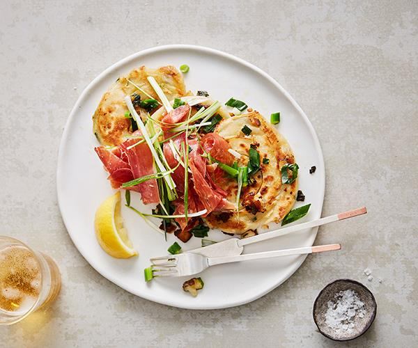 "**[Paper Bird's spring onion pancakes with jamón](https://www.gourmettraveller.com.au/recipes/chefs-recipes/spring-onion-pancake-recipe-17138|target=""_blank"")**"