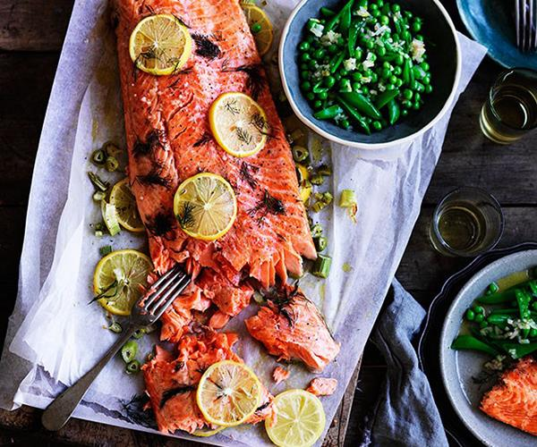 Slow-cooked ocean trout with peas, and meyer lemon and fennel salsa