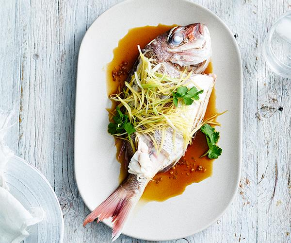 "**[Steamed snapper with coriander and ginger](https://www.gourmettraveller.com.au/recipes/chefs-recipes/ricky-and-pinkys-steamed-snapper-with-coriander-and-ginger-9300|target=""_blank"")**"