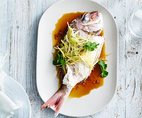 """**[Ricky & Pinky's steamed snapper with coriander and ginger](https://www.gourmettraveller.com.au/recipes/chefs-recipes/ricky-and-pinkys-steamed-snapper-with-coriander-and-ginger-9300