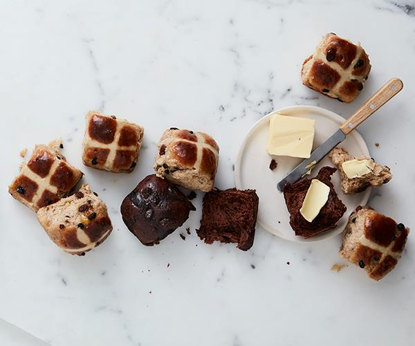 "**[Classic hot cross buns](https://www.gourmettraveller.com.au/recipes/browse-all/classic-hot-cross-buns-15969|target=""_blank"")**"