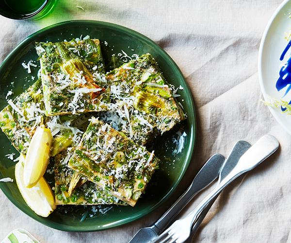 "**[Spring green frittata](https://www.gourmettraveller.com.au/recipes/browse-all/spring-green-frittata-16727|target=""_blank"")**"