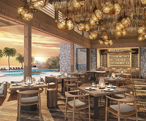 A rendering of The Ledge restaurant in the Maldives
